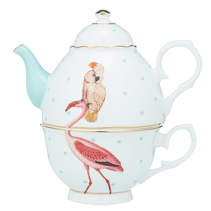 Yvonne Ellen tea for one set flamingo en kaketoe