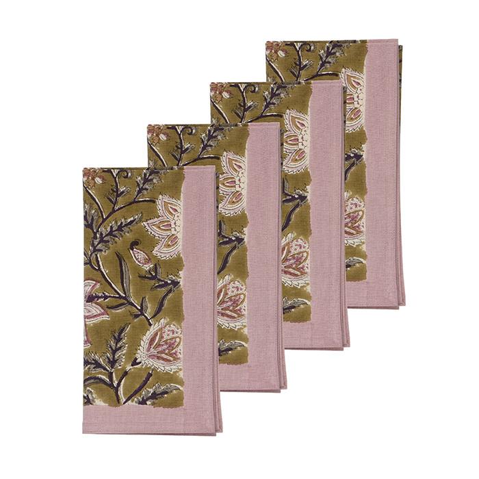 Bungalow katoenen servet 45 x 45 cm Monsoon Olive, set van 4 stuks