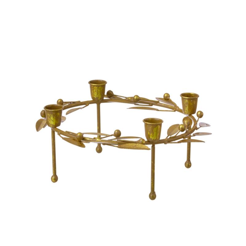 Bungalow KERST goudkleurige metalen kandelaar krans met blaadjes en besjes ø 23 cm, 9 cm hoog
