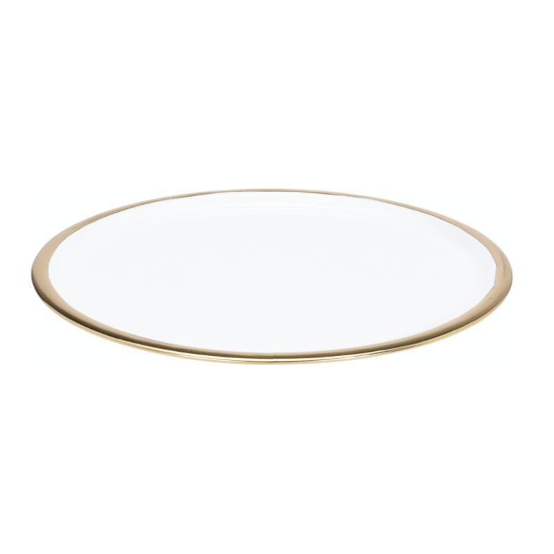 Dienblad metaal wit emaille met gouden rand , 42 cm