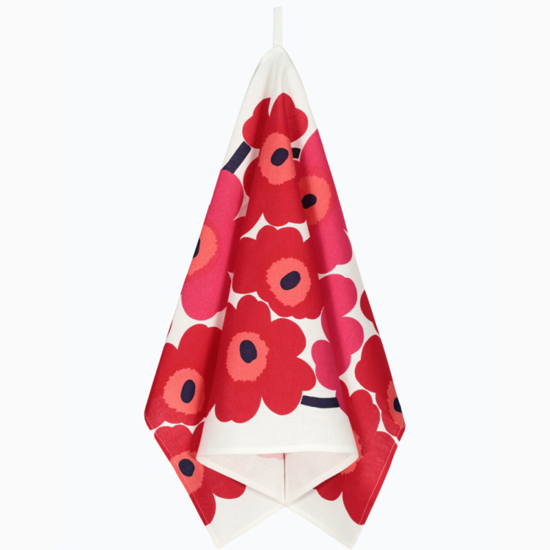 Set of 2 tea towels Unikko Red 47 x 70 cm
