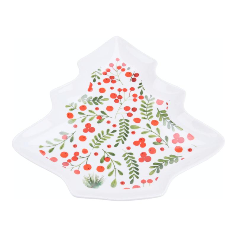 Presenteerbord porselein kerstboom of ster met rode besjes en groene takjes
