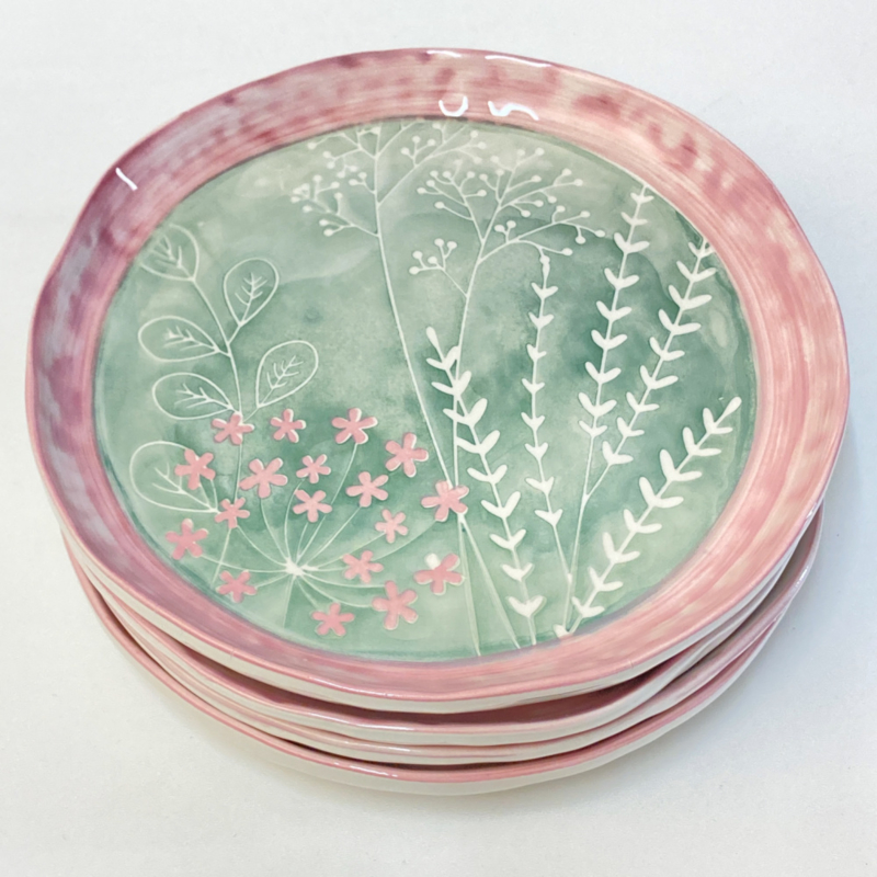 Bloom servies ontbijtbord groen roze (A) 24 cm