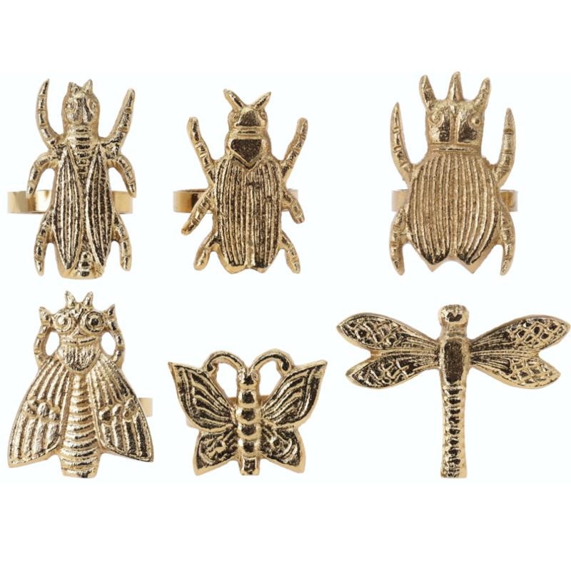 Servetringen goudkleurig met insecten, set van 6