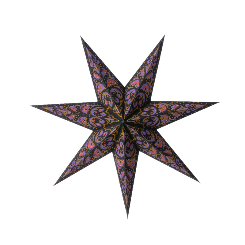 Bungalow KERST papieren ster Diya met lila, fuchsia, goud - 70 cm doorsnede