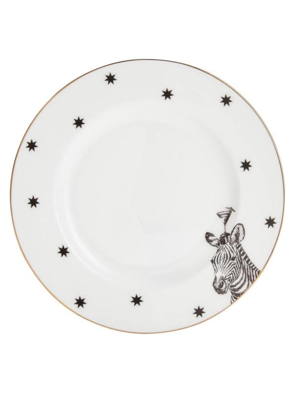 Yvonne Ellen  Mono taartbordje zwart-wit-goud zebra met cocktailglas