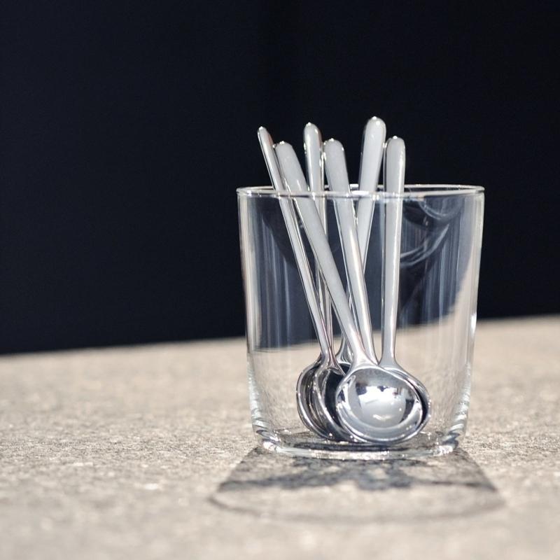 Bond set van 6 rvs koffielepeltjes (matcht met Bond melk en suikerset)