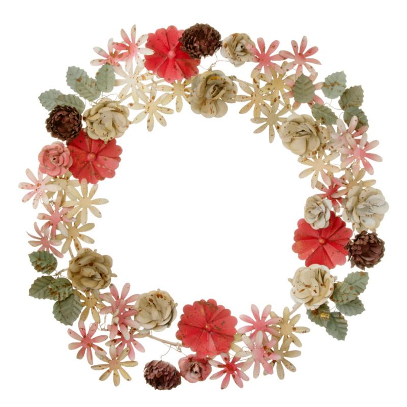 Bungalow KERST bloemenkrans van geverfd metaal Redwood Ø33 cm