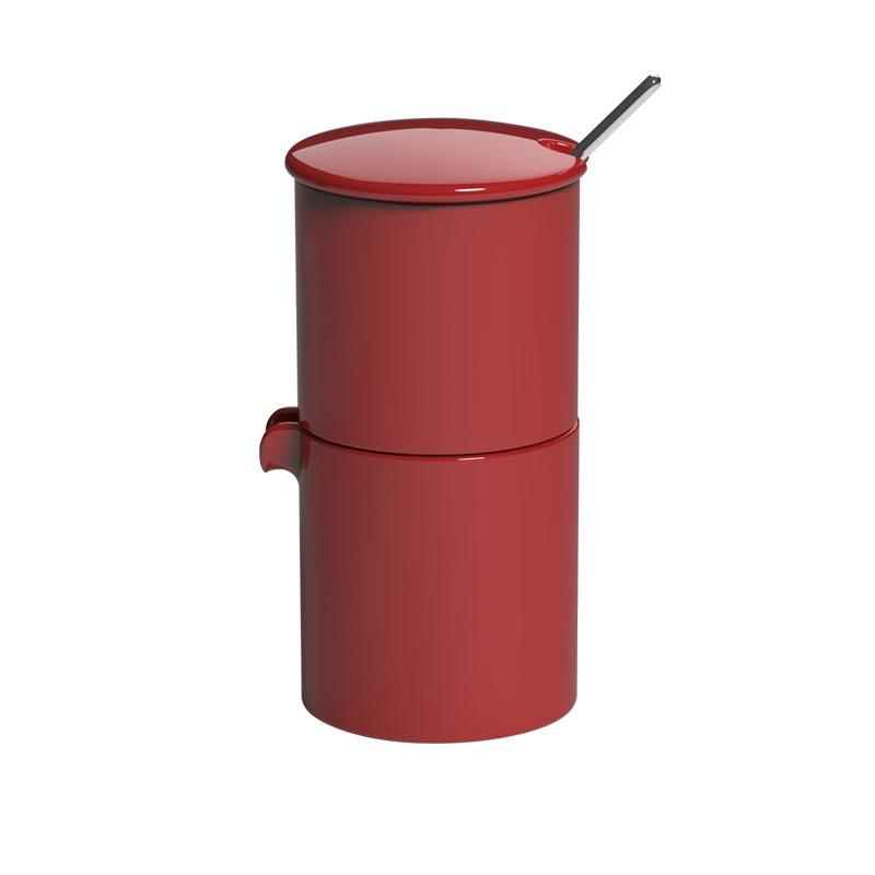 Loveramics Bond rode stapelbare melk en suiker set met lepeltje