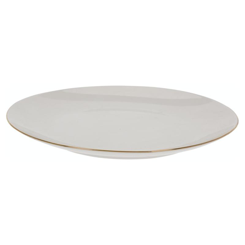 Dinerbord wit porselein met subtiel gouden randje 26 cm