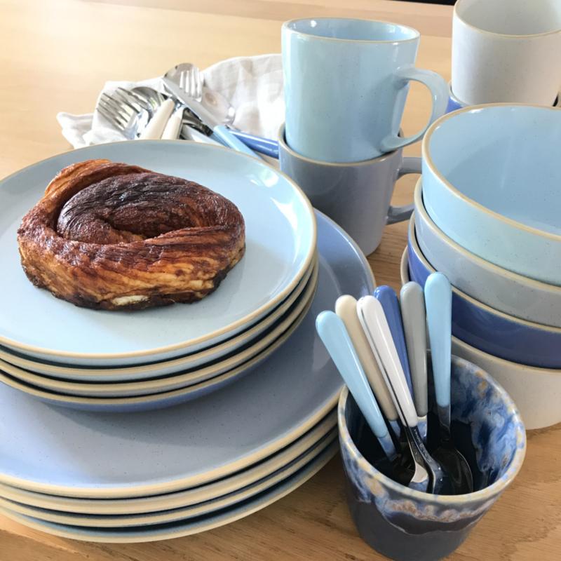 Zeeland servies set van 4 dinerborden 26,5 cm lavendelblauw, lichtblauw, grijs en zand