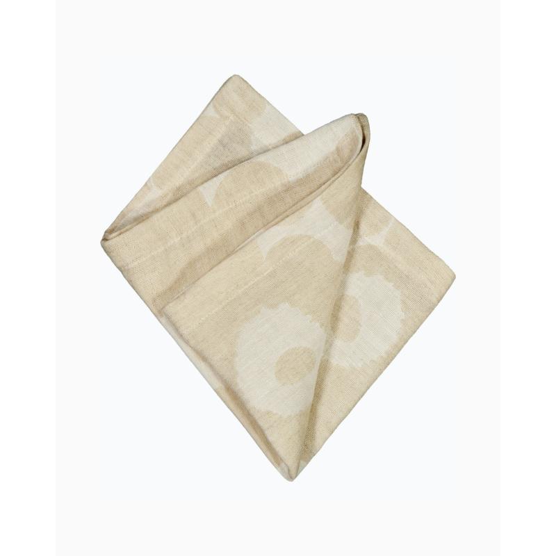 Marimekko linen-cotton napkin Unikko beige 45 x 45 cm