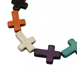 Turquoise Beads | Cross | MIX | 1 string 22x30mm (±14 stuks)