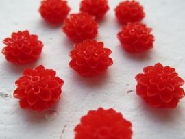 Flatback cabochon - Flower 16mm RED 10pcs