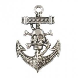 L21/4 Pirate Skull&Anchor | Silver | 55x36mm 3 stuks