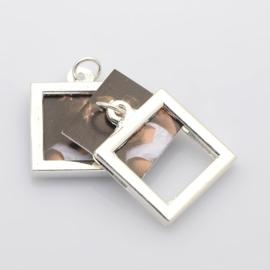 D39 Memory Locket Set | Silver setting | square 12x12mm 5 stuks