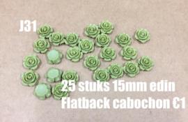 J31 25 stuks 15mm Edin flatback cabochon olive