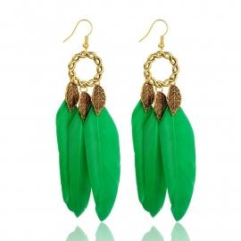 Miss Doris | BOHO feather IBIZA earrings Green