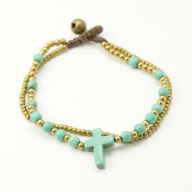 Miss Doris | handmade Turquoise Coral beads bracelet | CROSS