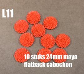 L11 10 stuks Maya 24mm flatback cabochon orange