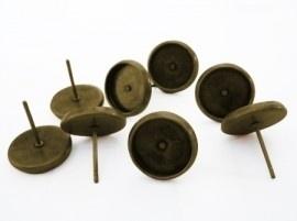 D05 Oorbellen DIY settings 8mm studs   brons 5 paar