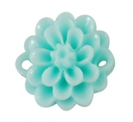 GIOIA | Resin flower connector 15mm | pale turquoise | 10pcs
