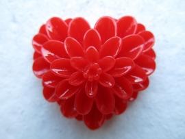 K41 Flower Heart | Decoden Kawai | Resin cabcohon | RED 33x38mm 2 stuks
