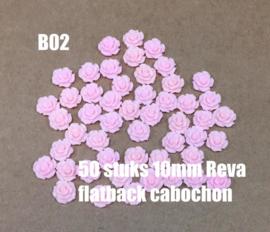 B02 50 stuks Reva 10mm flatback cabochon pink