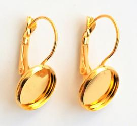 D33 10 paar/20 stuks oorbellen settings 12mm goud