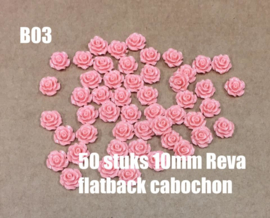B03 50 stuks Reva 10mm flatback cabochon rosybrown