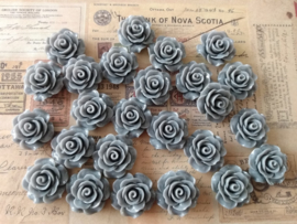 ROYA Flatback cabochon resin rose |  GRIJS 19mm 25 stuks C23