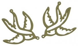 L76 Bird hanger - Bronze swallow 10 stuks