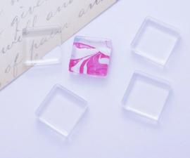 CLEAR GLASS | platte glas cabochon 20mm | 20 stuks B02