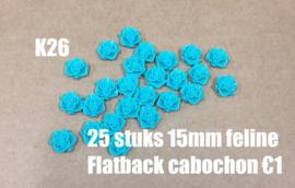 K26 26 stuks Feline 15mm flatback cabochon turquoise