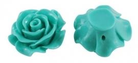 F13 BELA   Resin Flower Bead 28mm   TURQUOISE 5 stuks