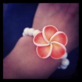 PLUMERIA | Polymer Tropical Flower Bead 35mm | IVORY