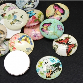 Butterfly print glass cabochon | 30mm MIX (10pcs)