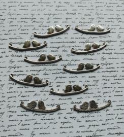 D23/1 Birds in love on a branch | chandelier 43mm | silver 5 stuks