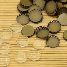 10 Sets | Setting + 18mm glass Bronze | LORI