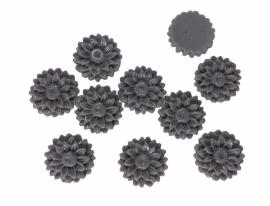 K37/1 JULIE | 14mm flower cabochon | GREY 30 stuks