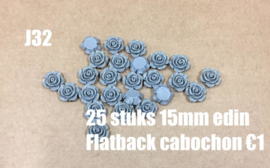 J32 25 stuks 15mm Edin flatback cabochon grijs