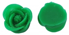 E01/1 NYA   Flatback flower resin cabochon   16mm   GREEN 20 stuks