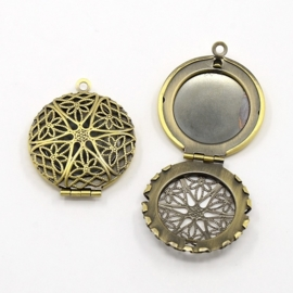 A18 Locket Filigree | bronze 27mm 3 stuks