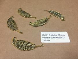 D37 5 stuks 60mm veer connector goud