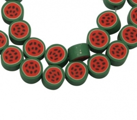 Handmade polymer WATERMELON beads 1 strand (40pcs) 10mm