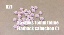 K21 25 stuks Feline 15mm flatback cabochon light coral