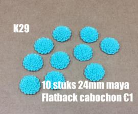 K29 10 stuks Maya 24mm flatback cabochon aquamarine