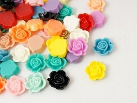 Flower cabochon 14x8mm MIX 100pcs