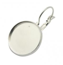 J44 Earring setting blank DIY 14mm | silver 5 paar
