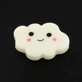 C53/1 Smiley Face Kawai cloud | Wolk cabochon 10 stuks